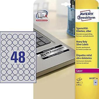 Avery-Zweckform L6129-20 Labels (A4) Ø 30 mm Polyester film Silver 960 pc(s) Permanent Nameplates Laser, Copier