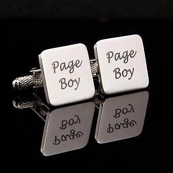 Page Boy Laser Wedding Cufflinks