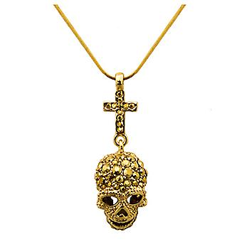 Butler & Wilson Skull & Cross Necklace - Gold
