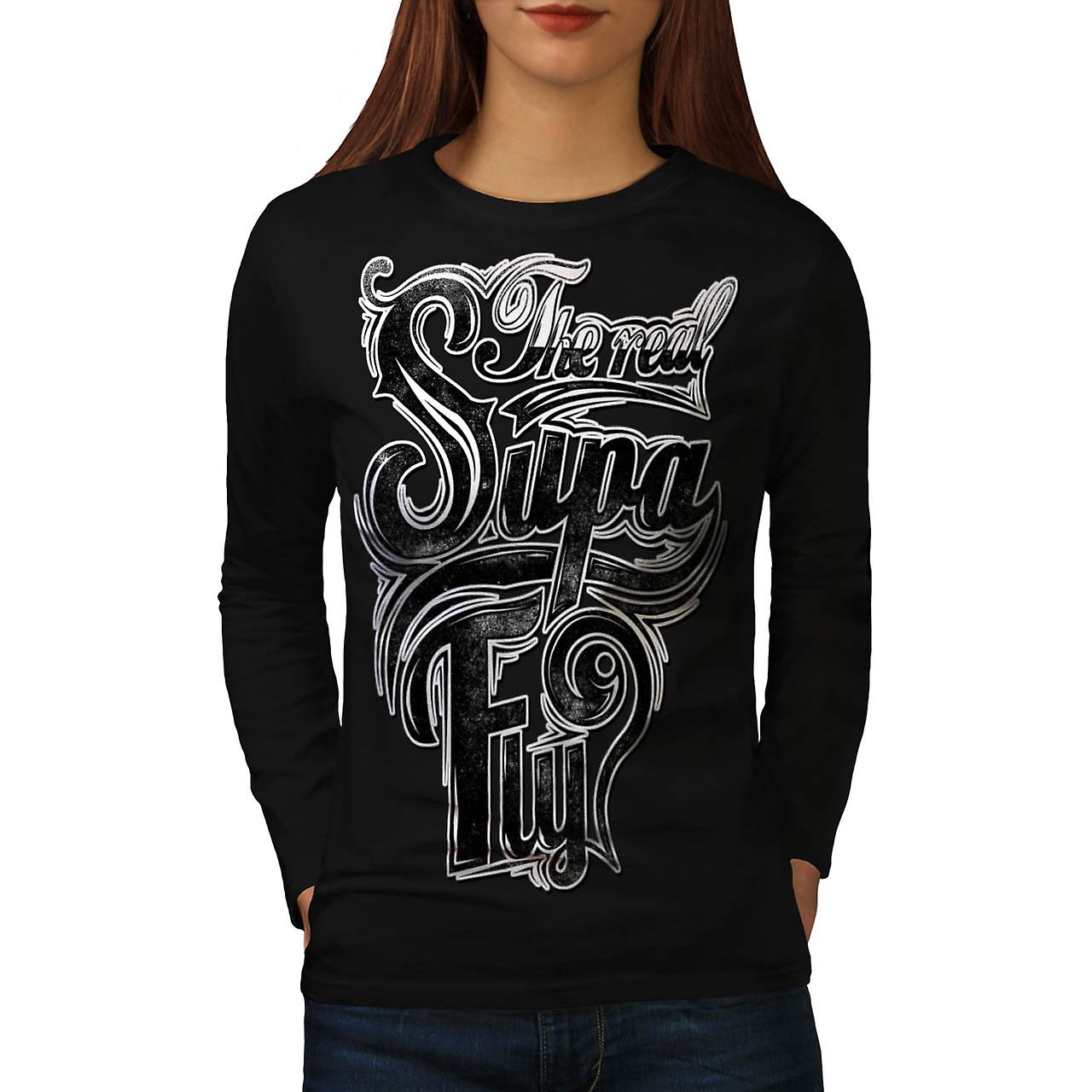 The Real Super Fly Twitter Name Women Black Long Sleeve T-shirt | Wellcoda