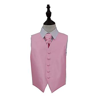Light Pink Solid Check Wedding Waistcoat & Cravat Set for Boys