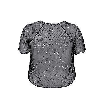 Black & Silver Embellished Sequin Shrug With Curved Hem