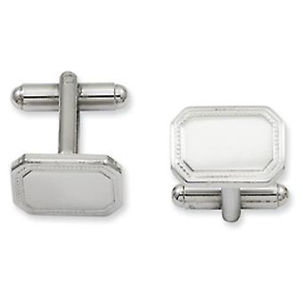 Solid Gift Boxed Engravable (front only) Rhodium-plated Polished Rectangle Cuff Links