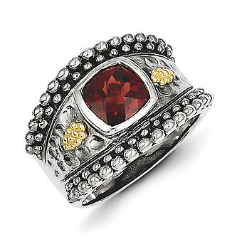 Sterling Silver With 14k Garnet Ring - Ring Size: 6 to 8