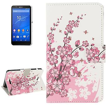 Mobile case bag for mobile phone Sony Xperia E4 winter flower