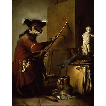 The Monkey Painter by Jean-Simeon Chardin France Paris Musee du Louvre Poster Print