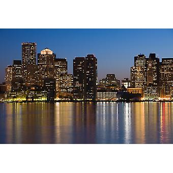 Gebouwen aan de waterkant Boston Massachusetts USA Poster Print