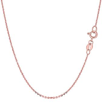 14k Rose Gold Cable Link Chain Necklace, 0.5mm