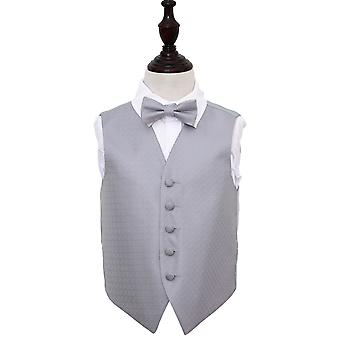 Boy's Greek Key Silver Wedding Waistcoat & Bow Tie Set