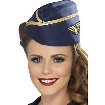 Stewardess Hat blue with gold trim