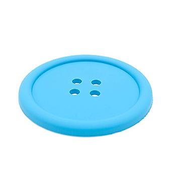 TRIXES Blue Button Shaped Silicone Drinks Coaster Novelty Design
