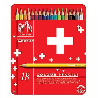 Caran d ' Ache Swisscolor Wasser lösliche Farbstoffe Bleistifte 18 Zinn
