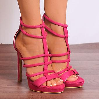 Shoe Closet Fuchsia High Heels - Ladies Fd25 Fuchsia Pink Strappy Sandals Peep Toes High Heels