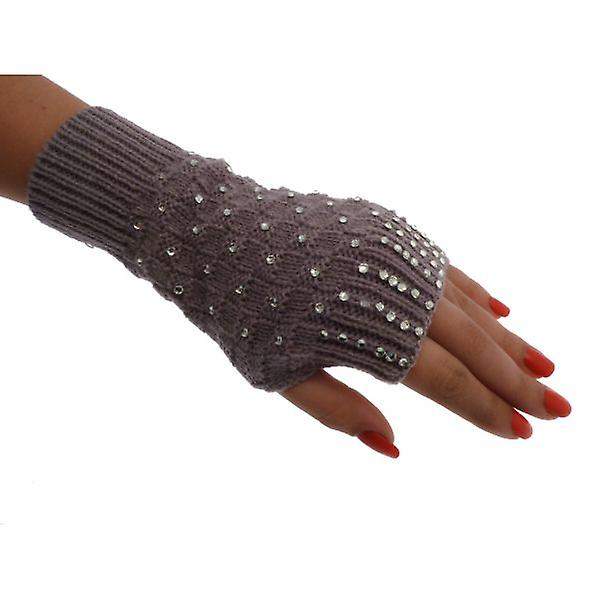 W.A.T Knitted Crystal Grey Fingerless Gloves