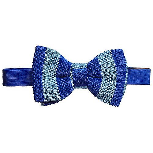 Tyler and Tyler Knitted Silk Striped Bow Tie - Blue/Light Blue