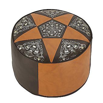 Cushion stools furniture stools pouf ORIENT light dark brown round leather