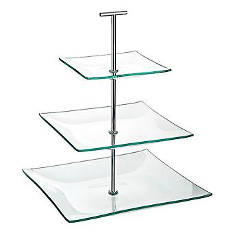 3 Tiered Square Glass Cake Stand
