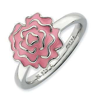 Sterling Silver Enamel Polished Rhodium-plated Stackable Expressions Carnation Ring - Ring Size: 5 to 10