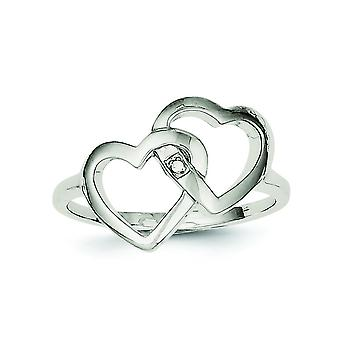 Sterling Silver Solid Polished Diamond Accent Intertwined Heart Ring - Ring Size: 6 to 8