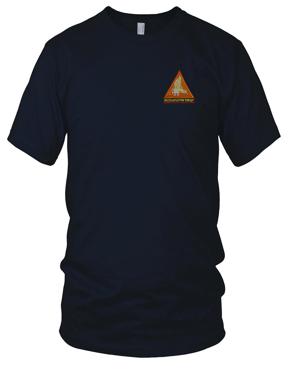 US Army 164th Combat Aviation Group - Delta Aviation Group - Vietnam War Embroidered Patch - Mens T Shirt
