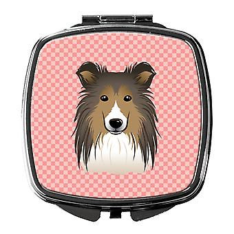 Carolines Treasures  BB1242SCM Checkerboard Pink Sheltie Compact Mirror