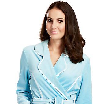 Feraud 3883035-10011 Women's Lagoon Blue Cotton Robe Loungewear Bath Dressing Gown