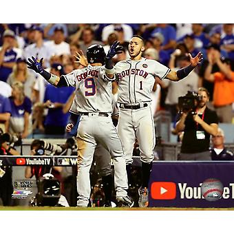 Marwin Gonzalez & Carlos Correa Home Run viering Game 2 van de 2017 World Series Photo Print