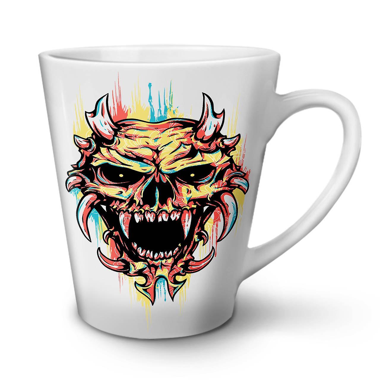 OzWellcoda Crâne Satan 12 Diable En Café Tasse Nouvelle Blanche Effrayant Latte Céramique MzGLUqSVp