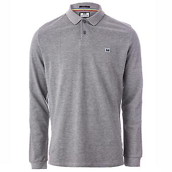 Mens Weekend Offender Moses Long Sleeve Polo Shirt In Grey- Long Sleeve- Polo