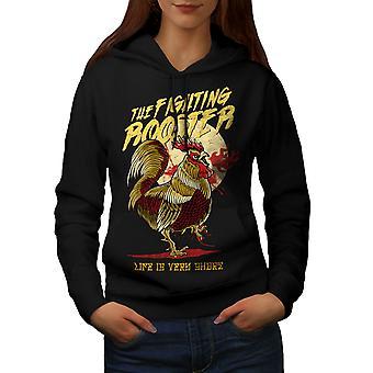 Fighting Rooster Fashion Women BlackHoodie | Wellcoda