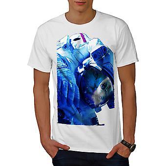 Space Cute Adorable Cat Men WhiteT-shirt | Wellcoda