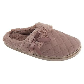 Womens/Ladies Quilted Open Back Mule Slippers With Faux Fur Trim