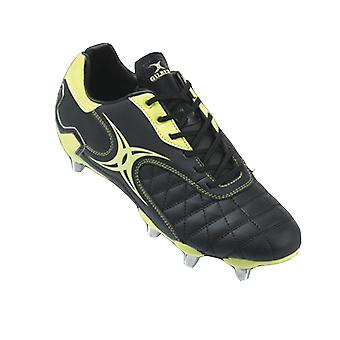 GILBERT side step Lo Cut Soft Toe 8 Stud Rugby Boots [black/lime]