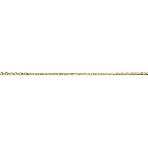 9ct Gold 16x11mm plain oval Disc with a cable link chain