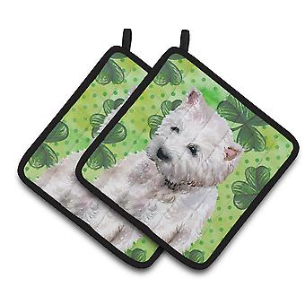 Carolines Treasures  BB9875PTHD Westie St Patrick's Pair of Pot Holders