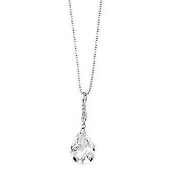 Elements Silver Teardrop and Pave Bail Pendant - Silver/Clear