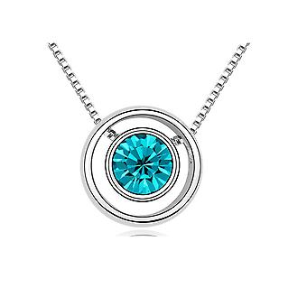 Circle and Element Blue Swarovski Crystal Necklace
