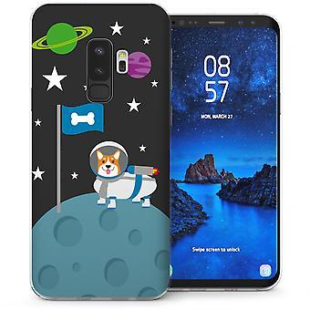 S9 Samsung Галактика плюс корги на Луне гель ТПУ - черный