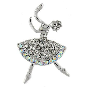 Brooches Store Silver  and  AB Crystal Ballerina Dancer Brooch