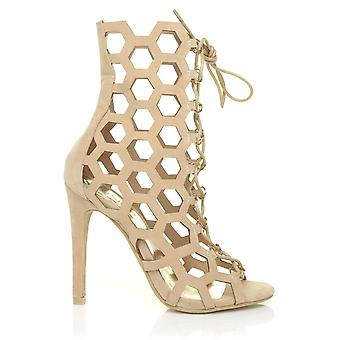 DAISY Nude Faux Suede Caged Honeycomb Peep-Toe High Heel Ankle Boots