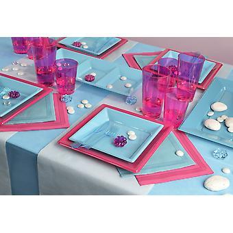 Party Geschirr Set für 6 Gäste 114-teilig Partypaket blau lila Partypaket