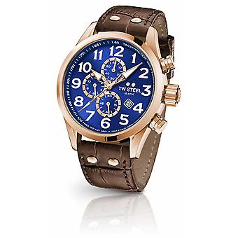 TW Steel Volante 45mm Chronograph Brown Leather Strap Blue Dial VS83 Watch