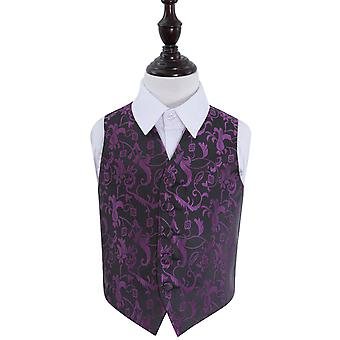 Black & Purple Floral Wedding Waistcoat for Boys