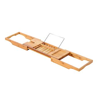 Homcom Extendable Bamboo Bath Tub Rack Bathroom Storage Holder Tray Shelf Bathtub Caddy