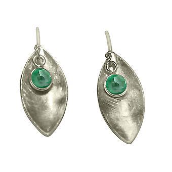 Gemshine - Damen - Ohrringe - Ohrhänger - 925 Silber - Marquise - Minimalistisch - Design - Smaragd - Grün - 3 cm
