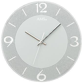 Gris analogique de quartz de horloge de le mur AMS 9571 ne ronde avec verre silencieux aucune tique