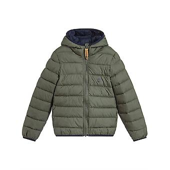 Timberland Boys Timberland Boys Khaki Green Hooded Packable Bubble Jacket