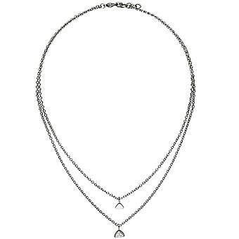 Necklace with heart pendant triangle 2-row stainless steel 3 zirconia 45 cm necklace