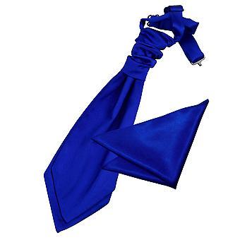 Royal Blue Plain Satin Wedding Cravat & Pocket Square Set for Boys