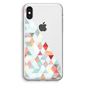 iPhone XS Transparant Case (Soft) - Coloured triangles pastel